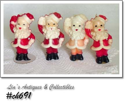 GURLEY CANDLES -- 4 WAVING SANTAS