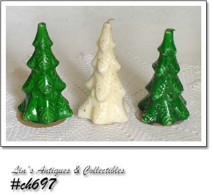 GURLEY CANDLES -- 3 LARGE VINTAGE CHRISTMAS TREES