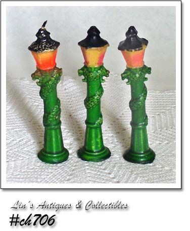 GURLEY CANDLES -- 3 VINTAGE LAMP POST CANDLES
