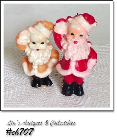 GURLEY CANDLES -- 2 WAVING VINTAGE SANTAS (SLIGHTLY IMPERFECT)