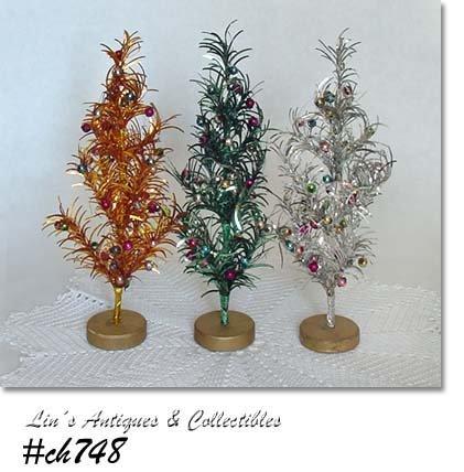THREE VINTAGE ALUMINUM TREES WITH BEAD ORNAMENTS