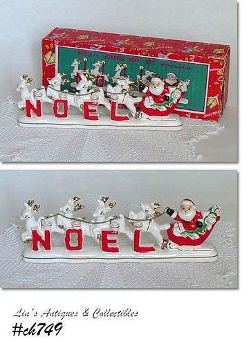 RELCO -- VINTAGE SANTA AND REINDEER NOEL SET IN ORIGINAL BOX