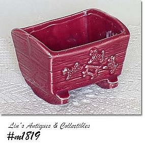 SHAWNEE POTTERY -- CRADLE PLANTER (BURGUNDY)