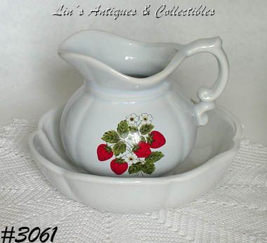McCOY POTTERY-- STRAWBERRY COUNTRY PITCHER AND BOWL
