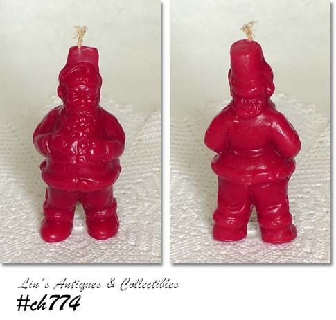 VINTAGE RED SANTA CANDLE MADE BY TAVERN COMPANY OR GURLEY