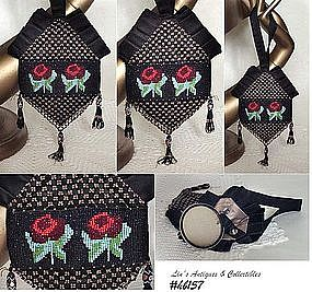 VINTAGE EVENING BAG WITH BEADED ROSES