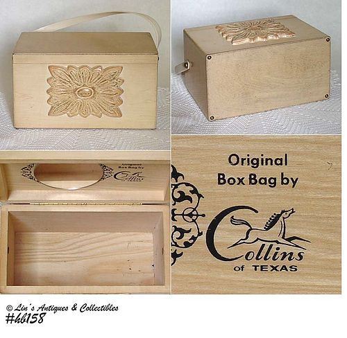 VINTAGE HANDBAG -- COLLINS WOODEN BOX BAG