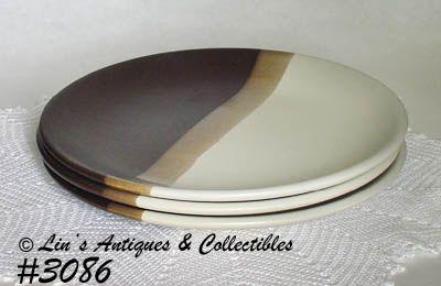 McCOY POTTERY -- SANDSTONE DINNER PLATES (3)
