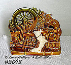 McCOY POTTERY -- CAT AT SPINNING WHEEL PLANTER