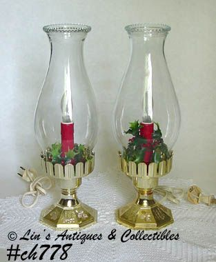 PAIR OF HOLIDAY HURRICANE STYLE ELECTRIC LAMPS