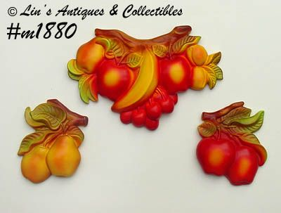 MILLER STUDIOS -- SET OF 3 FRUIT WALL PLAQUES