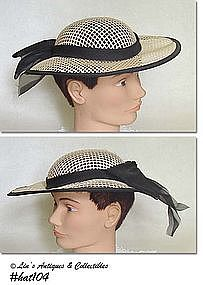 SUMMER HAT WITH BLACK RIBBON