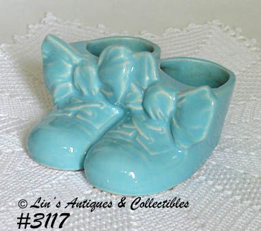 McCOY POTTERY -- BLUE BABY SHOES PLANTER