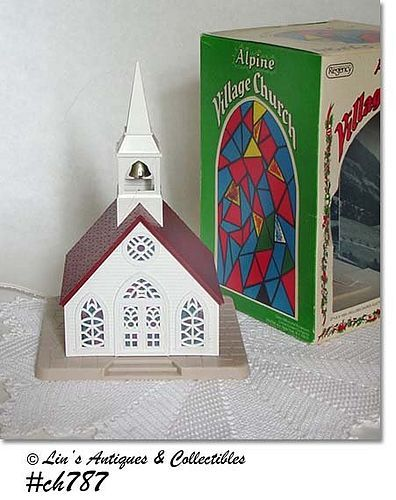 VINTAGE LIGHTED ALPINE VILLAGE CHURCH IN ORIGINAL BOX
