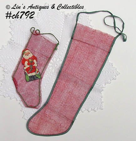 LOT OF 2 VINTAGE NET CHRISTMAS STOCKINGS