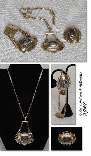 WHITING DAVIS VINTAGE BRACELET, NECKLACE, AND MATCHING BROOCH