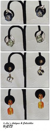 4 PAIRS VINTAGE LUCITE EARRINGS