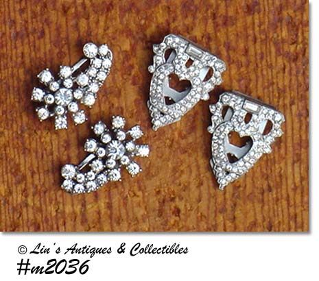 2 PAIRS RHINESTONE DRESS CLIPS