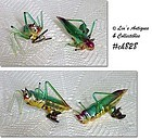 2 GLASS GRASSHOPPER ORNAMENTS/CLIPS (ITALY)