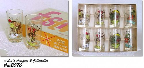 "ANCHOR HOCKING -- ""FESTIVE"" GLASSES IN ORIGINAL BOX"