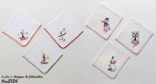 6 EMBROIDERED HANKIES (3 WITH ANIMALS, 3 WITH SKIERS)