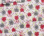 RED AND GRAY PANSIES VINTAGE FEED SACK FEEDSACK