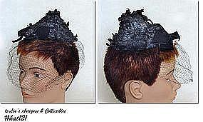 MISS SALLY VICTOR BEEHIVE STYLE HAT WITH NETTING