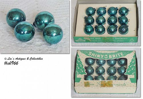 1 DOZEN VINTAGE SHINY BRITE ORNAMENTS BLUE/GREEN COLOR