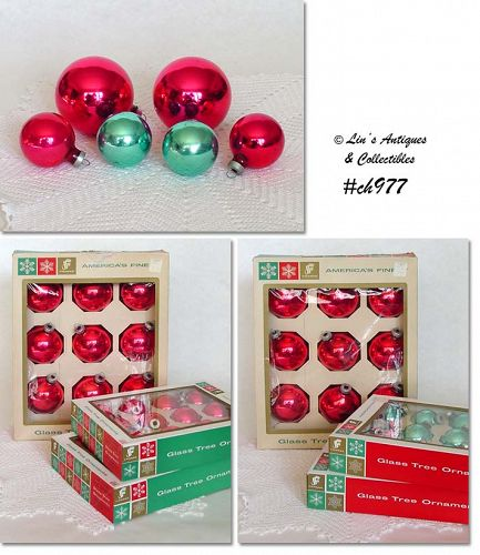 LOT OF 6 DOZEN VINTAGE SHINY BRITE ORNAMENTS IN ORIGINAL BOXES