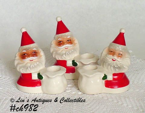 SET OF 3 SANTA CANDLEHOLDERS