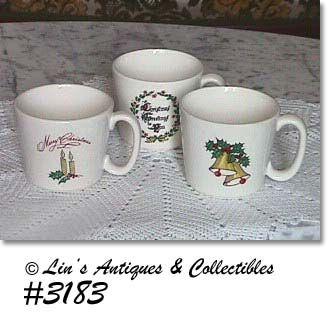 McCOY POTTERY -- THREE CHRISTMAS CUPS
