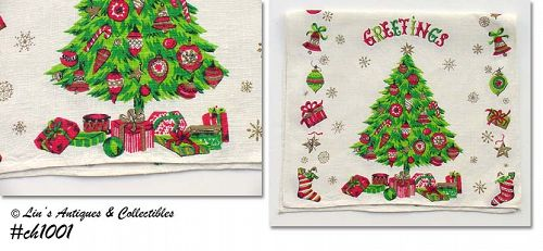 """SEASONS GREETINGS"" LINEN KITCHEN TOWEL"