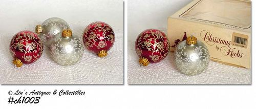 CHRISTMAS BY KREBS -- 4 BEAUTIFUL ORNAMENTS!!