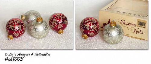 CHRISTMAS BY KREBS -- 4 BEAUTIFUL ORNAMENTS!!
