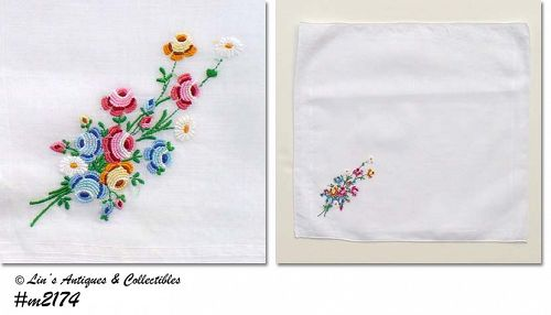 WEDDING HANDKERCHIEF -- WHITE WITH PETIT POINT FLOWERS