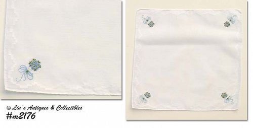 WEDDING HANDKERCHIEF -- BOUQUETS OF BLUE FLOWERS