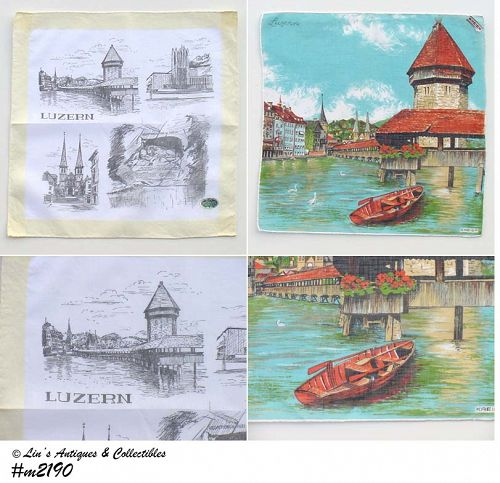 PAIR OF SOUVENIR HANDKERCHIEFS -- LUZERN