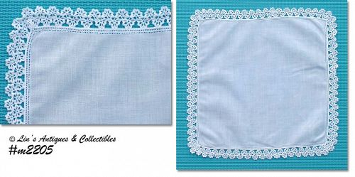 HANDKERCHIEF -- WHITE WITH RICKRACK EDGING