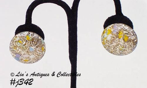 "LUCITE ""CONFETTI"" EARRINGS (CLIP BACKS)"