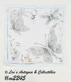 VINTAGE UNUSUAL WHITE WITH BUTTERFLIES HANDKERCHIEF