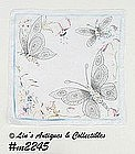 HANDKERCHIEF, WHITE WITH BUTTERFLIES