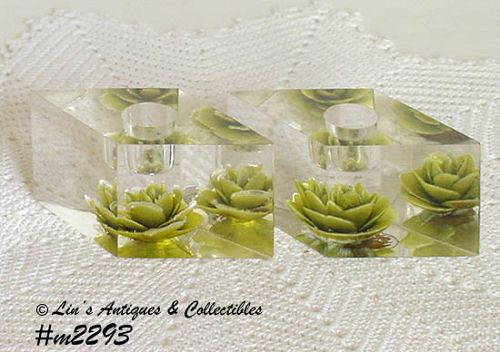 PAIR OF LUCITE CANDLEHOLDERS