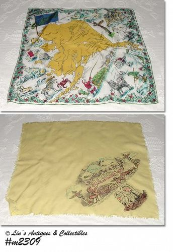 TWO SOUVENIR SCARVES, ALASKA