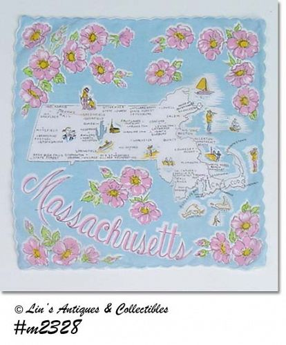 SOUVENIR HANDKERCHIEF, MASSACHUSETTS