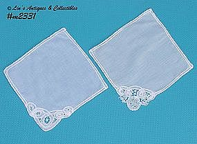 TWO BATTENBURG LACE HANDKERCHIEFS