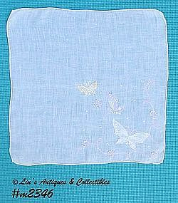 WHITE WITH 3 BUTTERFLIES HANDKERCHIEF
