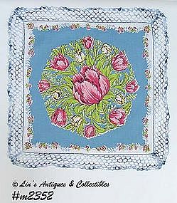 HANDKERCHIEF, PARROT TULIP WITH CROCHET EDGING