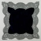 BLACK (MOURNING) HANDKERCHIEF WITH WHITE ACCENTS