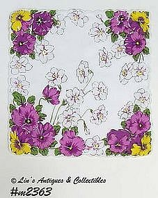 VINTAGE WHITE HANDKERCHIEF WITH PURPLE PANSIES