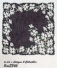 HANDKERCHIEF, BLACK WITH WHITE DOGWOOD BLOOMS